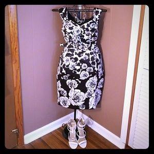 WHBM Black Satin Dress w/ White Rose design